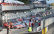 V8 Supercars line up in pitlane prior to the start of race one at the HAMILTON 400, New Zealand, Saturday, 18th April 2009. Photo: Andrew Bright/PHOTOSPORT