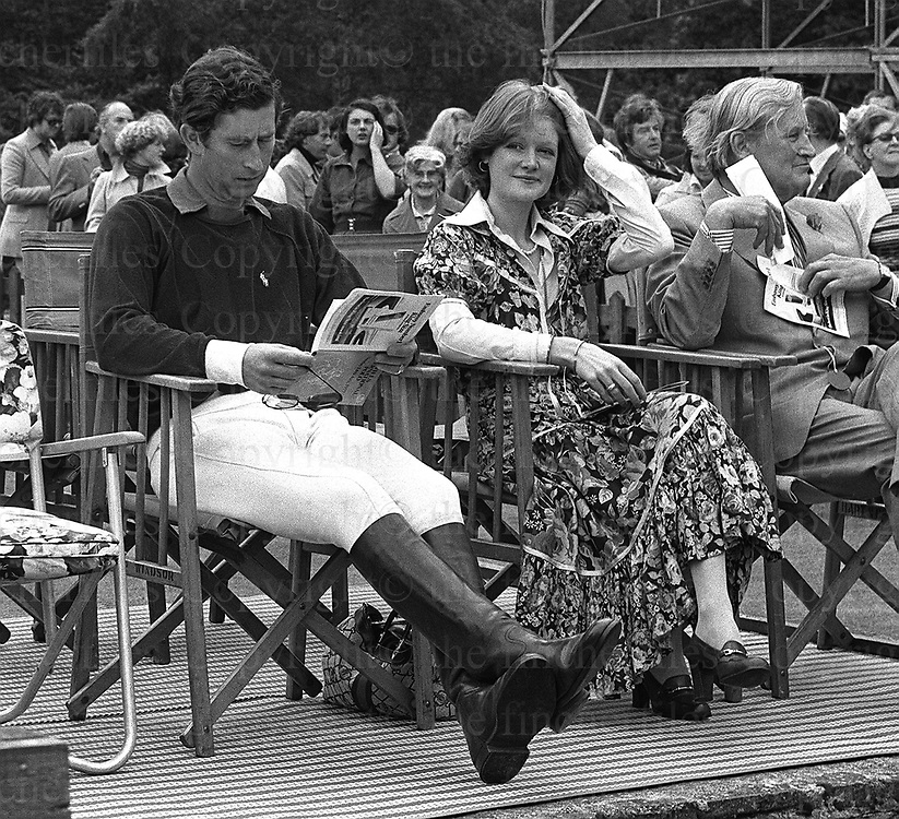 Prince Charles, the Prince of Wales with Lady Sarah Spencer seen at a polo match at the guards Polo Club, Smiths Lawn, Windsor in July 1978. Photograph by Jayne Fincher