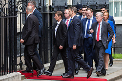 London, UK. 4 June, 2019. The US delegation, including National Security Advisor John Bolton, arrives in Downing Street for lunch and bilateral talks between President Donald Trump, Prime Minister Theresa May and their respective teams on the second day of President Trump's state visit to the UK.