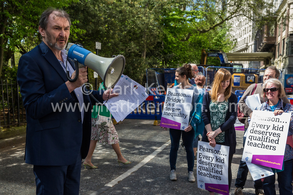 London, UK. 4th May, 2018. Kevin Courtney, Joint General Secretary of the National Education Union (NEU), addresses members demonstrating outside the AGM of multinational assessment service Pearson in protest against investment by the corporation in 'low-fee' private schools provider Bridge. Bridge, one of the world's largest education-for-profit companies, aims to extend its influence throughout Africa and Asia.