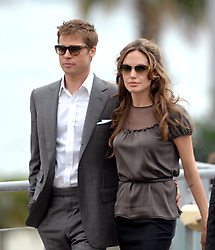 Actors and co-producers Brad Pitt and Angelina Jolie leave a photocall for the film 'A Mighty Heart' during the 60th International Cannes Film Festival, in Cannes, France on May 21, 2007. Photo by Hahn-Nebinger-Orban/ABACAPRESS.COM