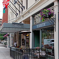 USA, Washington, Seattle. Entrance to the Alexis Hotel in Seattle.