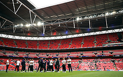 General view of the Derby County players before the game