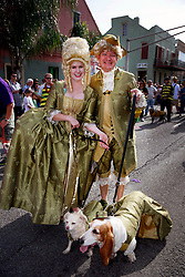 27 Jan 2013. New Orleans, Louisiana USA. .The Mystic Krewe of Barkus. Ryan and Jenna McMullen with their dogs Caddo and Abbey. Following the theme 'Here Comes Honey Bow Wow,' the parade parodies a popular media title as dogs and their owners parade through the French Quarter in one of the most irreverent parades of the season..Photo; Charlie Varley
