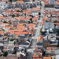Gamle trebebyggelsen i Posebyen i Kristiansand sentrum  sett fra luften.