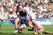 Josh Curran in possession. St George Dragons v Vodafone Warriors. NRL Rugby League, Netstrata Jubilee Stadium, Sydney, NSW, Australia, Sunday 18th April 2021 Copyright Photo: David Neilson / www.photosport.nz