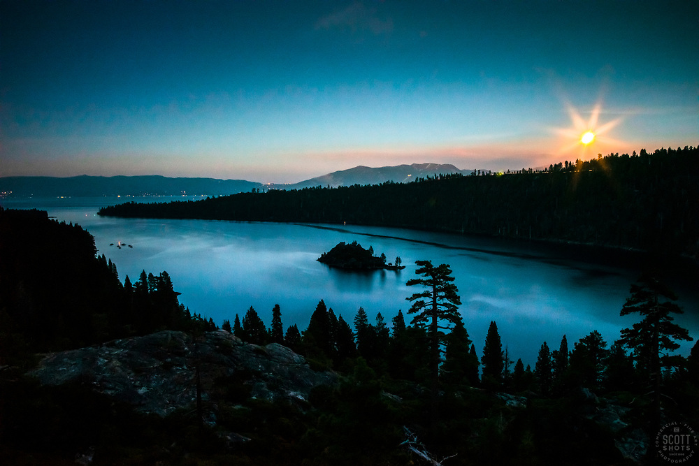 """""""Emerald Bay at Night 2"""" - Photograph of the moon rising over Emerald Bay, Lake Tahoe shortly after sunset."""