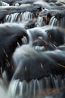 intimate detail of small cascades on a stream in Acadia National Park, Maine