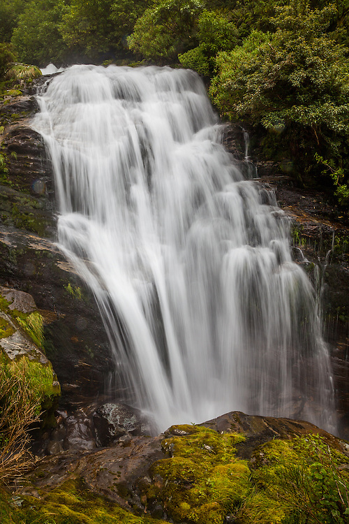 Waterfalls abound on the Milford Track in Fiordland National Park on the South Island of New Zealand considered one of the World's Ten Best Walks