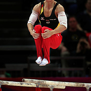 Marcel Nguyen, Germany, Silver Medal winner in the Men's Parallel Bars Final in action at North Greenwich Arena during the London 2012 Olympic games London, UK. 7th August 2012. Photo Tim Clayton