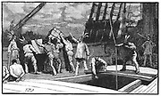 Boston Tea Party, 26 December 1773. Inhabitants of Boston, Massachusetts, dressed as American Indians,  throwing tea from vessels in the harbour into the water as a protest against British taxation. 'No taxation without representation'.  Wood engraving, late 19th century.