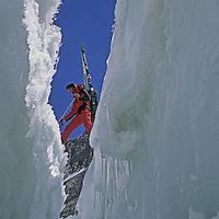 MOUNTAINEERING. Mike Graber crosses crevasse on Palisade Glacier (Sierra) (MR)