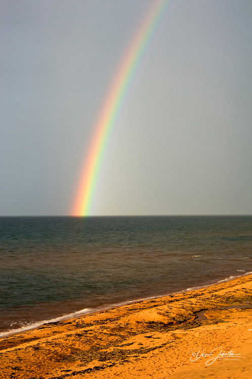 Rainbow over Gulf of St. Lawrence and Campbell's Cove, Campbell's Cove, PE/PEI, Canada