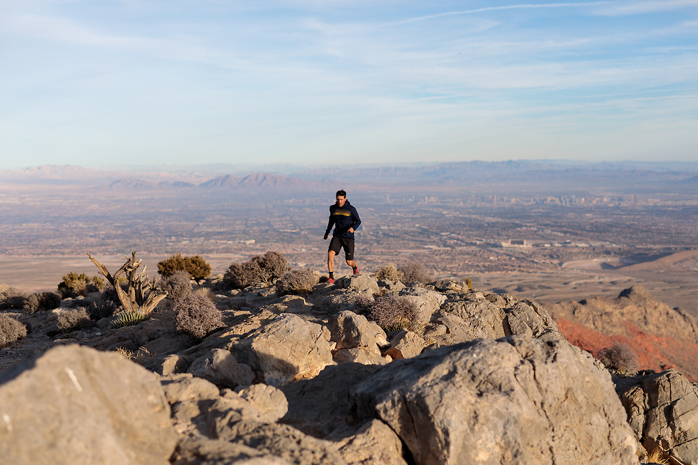 Tim Banfield trail running Turtlehead Peak in Red Rock Canyon, Las Vegas, NV