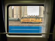 Near Lanzhou train station. Window view across China, from Hong Kong to Urumqi, Xinjiang.
