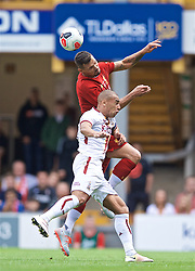 BRADFORD, ENGLAND - Saturday, July 13, 2019: Liverpool's Dejan Lovren and Bradford City's James Vaughan during a pre-season friendly match between Bradford City AFC and Liverpool FC at Valley Parade. (Pic by David Rawcliffe/Propaganda)  BRADFORD, ENGLAND - Saturday, July 13, 2019: Liverpool's xxxx during a pre-season friendly match between Bradford City AFC and Liverpool FC at Valley Parade. (Pic by David Rawcliffe/Propaganda)