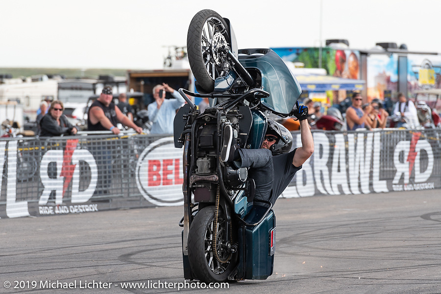 Bell sponsored rider CJ Barham in the Bell Brawl motorcycle stunt show at the Crossroads area of the Buffalo Chip during the Sturgis Black Hills Motorcycle Rally. Sturgis, SD, USA. Sunday, August 4, 2019. Photography ©2019 Michael Lichter.The Bell Brawl motorcycle stunt show at the Crossroads area of the Buffalo Chip during the Sturgis Black Hills Motorcycle Rally. Sturgis, SD, USA. Sunday, August 4, 2019. Photography ©2019 Michael Lichter.