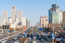 Skyline of Central Business District , CBD, in central Beijing China