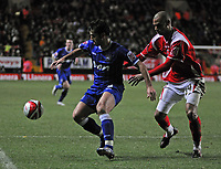 Photo: Tony Oudot/Sportsbeat Images.<br /> Charlton Athletic v Ipswich Town. Coca Cola Championship. 08/12/2007.<br /> Pablo Counago of Ipswich Town is watched by Jonathan Fortune of Charlton