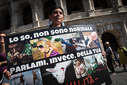 July 8, 2017 - Rome, Italy, Italy - Rome ,Italy July 08,  The animal movement ,founded by Michela Vittoria Brambilla last May 20 ,fell fot the first time in the piazza In Rome  to ask for' justice for all' and to fight against the ill-treatment of animals .During the demonstration, departed from the Colosseum and ended in Piazza Venezia  with several interventions from the stage, the president and founder Michela Vittoria  Brambilla said: ''We no longer want to delgate the defenseof animals and support to the people who live with their four - leggend frieds,for this reason we deided to commit ourselvesin the first personwith this movement...in the pictured a momont demonstration in Rome (Credit Image: © Andrea Ronchini/Pacific Press via ZUMA Wire)