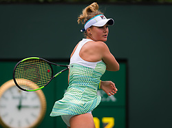 March 10, 2019 - Indian Wells, USA - Kateryna Kozlova of the Ukraine in action during her third-round match at the 2019 BNP Paribas Open WTA Premier Mandatory tennis tournament (Credit Image: © AFP7 via ZUMA Wire)
