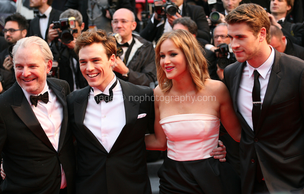 Francis Lawrence, Sam Claflin, Jennifer Lawrence and Liam Hemsworth at the red carpet for the gala screening of Jimmy P. Psychotherapy of a Plains Indian film at the Cannes Film Festival 18th May 2013