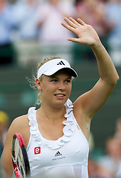 21.06.2011, Wimbledon, London, GBR, Wimbledon Tennis Championships, im Bild Caroline Wozniacki (DEN) celebrates her Ladies' Singles 1st Round victory on day two of the Wimbledon Lawn Tennis Championships at the All England Lawn Tennis and Croquet Club, EXPA Pictures © 2011, PhotoCredit: EXPA/ Propaganda/ *** ATTENTION *** UK OUT!