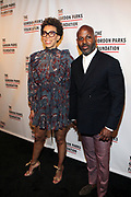NEW YORK, NEW YORK-JUNE 4: Visual Artist Amy Sherald and Kevin Pemberton attend the 2019 Gordon Parks Foundation Awards Dinner and Auction Red Carpet celebrating the Arts & Social Justice held at Cipriani 42nd Street on June 4, 2019 in New York City.  (photo by terrence jennings/terrencejennings.com)