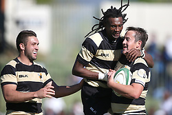 Theuns Kotze of Boland is congratulated by Gerrit van Wyk of Boland and Daniel Demas of Boland for scoring during the Currie Cup premier division match between the Boland Cavaliers and The Blue Bulls held at Boland Stadium, Wellington, South Africa on the 23rd September 2016<br /> <br /> Photo by:   Shaun Roy/ Real Time Images