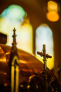 A detail of the baptismal font and stained glass on Saturday, Jan. 16, 2021, at Zion Lutheran Church, Fort Wayne, Indiana. LCMS Communications/Erik M. Lunsford