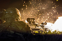 March 23, 2019 - San Antonio, Texas, U.S. - U.S. Soldiers of Bravo Company assigned to the 143rd Infantry (Airborne) returns fire with the Squad Automatic Weapon (SAW) during The Joint Forcible Entry Exercise at Kelly Drop Zone, San Antonio, Texas on Mar. 23, 2019. The Joint Forcible Entry Exercise is an annual large scale Airborne drop and mobility mission that simulates a contested battlefield scenario as a way of training units for dangerous situations that occur while deployed. (Credit Image: ? U.S. Army/ZUMA Wire/ZUMAPRESS.com)