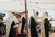 Jews at worship in a open air synagogue, Israel