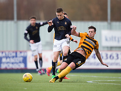 Falkirk's John Baird and Alloa Athletic's Jason Marr. <br /> Falkirk 2 v 0 Alloa Athletic, Scottish Championship game played 5/3/2016 at The Falkirk Stadium.