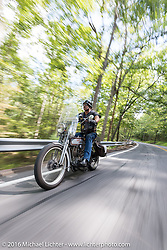 Rowdy Schenck of NM on his 1915 Harley-Davdison during the Motorcycle Cannonball Race of the Century. Stage-2 from York, PA to Morgantown, WV. USA. Sunday September 11, 2016. Photography ©2016 Michael Lichter.