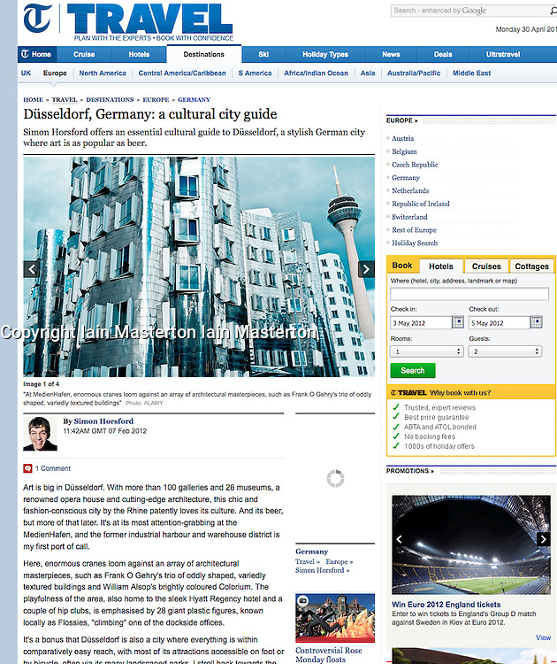 Screen shot from The Telegraph...Frank Gehry building in Dusseldorf