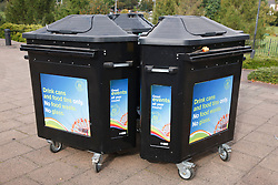Nottingham City Council recycling bin for tins and cans at Goose Fair event.