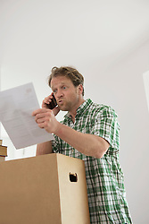 Argument phone call man new home moving in