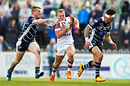 Bradford's Ross Oakes makes a break during the Kingstone Press Championship match between Featherstone Rovers and Bradford Bulls at the Big Fellas Stadium, Featherstone, United Kingdom on 17 April 2017. Photo by Craig Galloway.