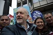 London, UK. Sunday 29th November 2015. Labour Party Leader Jeremy Corbyn attends the Peoples March for Climate Justice and Jobs demonstration. Demonstrators gathered in their tens of thousands to protest against all kinds of environmental issues such as fracking, clean air, and alternative energies, prior to Major climate change talks.