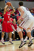 DALLAS, TX - JANUARY 4: Nic Moore #11 of the SMU Mustangs shoots the ball against the Connecticut Huskies on January 4, 2014 at Moody Coliseum in Dallas, Texas.  (Photo by Cooper Neill) *** Local Caption *** Nic Moore