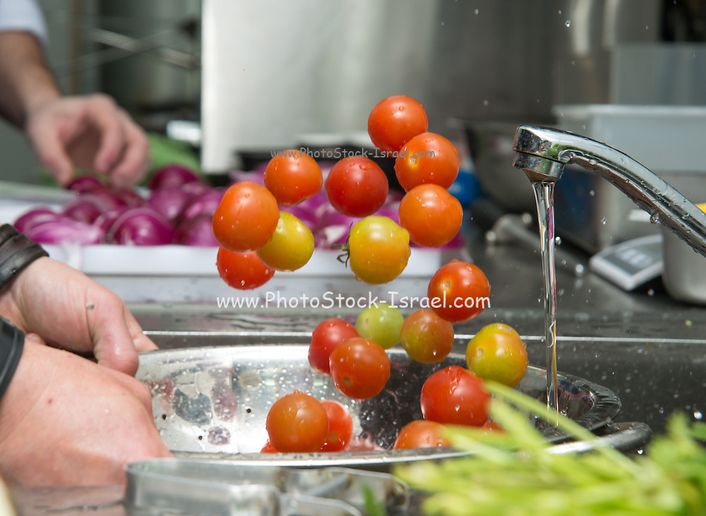 Chef washes cherry tomatoes in a restaurant