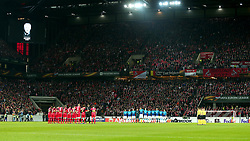 Arsenal and Cologne take part in a minutes applause - Mandatory by-line: Robbie Stephenson/JMP - 23/11/2017 - FOOTBALL - RheinEnergieSTADION - Cologne,  - Cologne v Arsenal - UEFA Europa League Group H