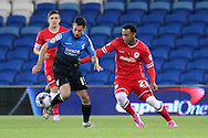 Adam Smith of Bournemouth (left) and Nicky Maynard of Cardiff. Capital One Cup, 3rd round match, Cardiff City v AFC Bournemouth at the Cardiff City stadium in Cardiff, South Wales on Tuesday 23rd Sept 2014<br /> pic by Mark Hawkins, Andrew Orchard sports photography.