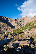 Morning view on the way up the Longs Peak, Keyhole Route, Rocky Mountain National Park, Colorado.