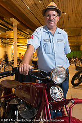 Kiwi Mike of Kiwi Indian Motorcycles at the In Motion invitational bike show at the Lone Star Rally. Galveston, TX. USA. Friday November 3, 2017. Photography ©2017 Michael Lichter.