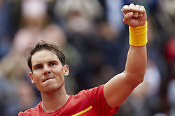 April 6, 2018 - Valencia, Valencia, Spain - Rafael Nadal of Spain celebrates the victory in his match against Philipp Kohlschreiber of Germany during day one of the Davis Cup World Group Quarter Finals match between Spain and Germany at Plaza de Toros de Valencia on April 6, 2018 in Valencia, Spain  (Credit Image: © David Aliaga/NurPhoto via ZUMA Press)