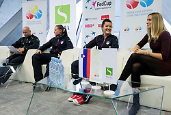 Andrej Krasevec, Tina Pisnik, Nastja Kolar and Polona Hercog  during press conference of Team Slovenia before playing in Zone Group 1 of Fed Cup tournament in Budapest on January 29, 2014 in BTC City, Ljubljana, Slovenia. Photo by Vid Ponikvar / Sportida