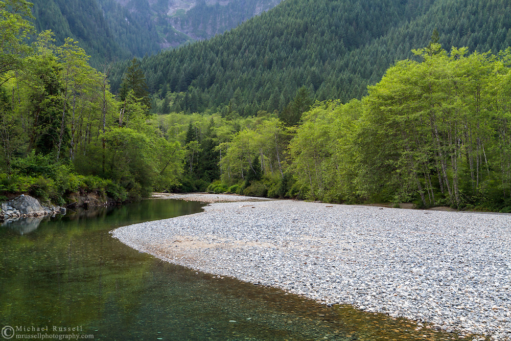 Gold Creek (with low water levels) at a rocky beach at Golden Ears Provincial Park in Maple Ridge, British Columbia, Canada.