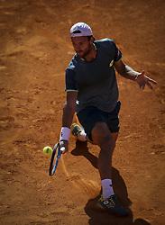 May 4, 2018 - Lisbon, Portugal - Joao Sousa  in action during the Millennium Estoril Open tennis tournament in Estoril, outskirts of Lisbon, Portugal on May 4, 2018  (Credit Image: © Carlos Costa/NurPhoto via ZUMA Press)