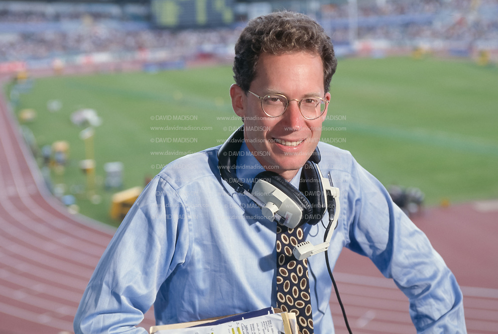 GOTHENBURG, SWEDEN -  AUGUST 1995:   Television commentator and former middle distance runner Craig Masback of the USA poses for a portrait in the broadcast booth during the 1995 IAAF World Championships held in August 1995 at Ullevi Stadium in Gothenburg, Sweden.  (Photo by David Madison/Getty Images)